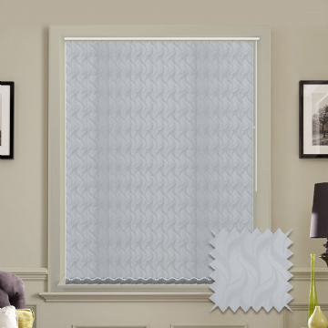 Made to measure vertical blind in White Jacamar Blackout Fabric